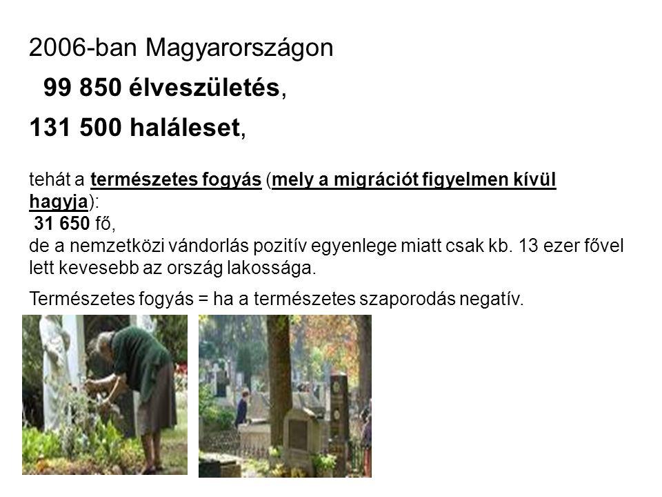 2006-ban Magyarországon 99 850 élveszületés, 131 500 haláleset,
