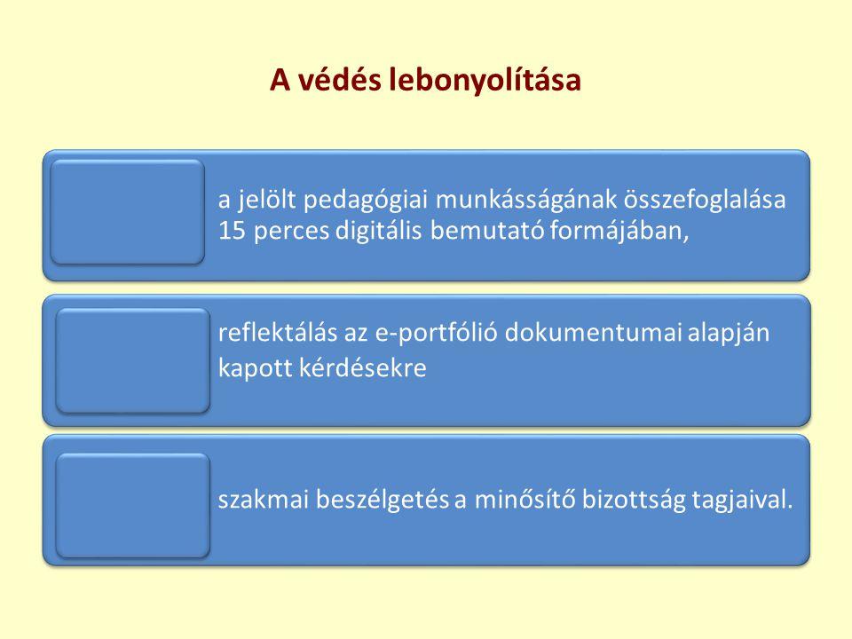 A védés lebonyolítása a jelölt pedagógiai munkásságának összefoglalása 15 perces digitális bemutató formájában,