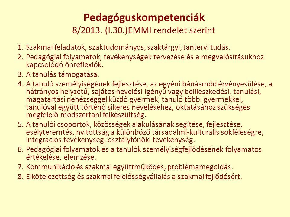 Pedagóguskompetenciák 8/2013. (I.30.)EMMI rendelet szerint