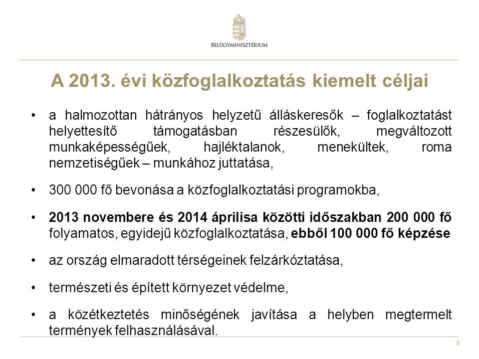 A 2013. évi közfoglalkoztatás kiemelt céljai