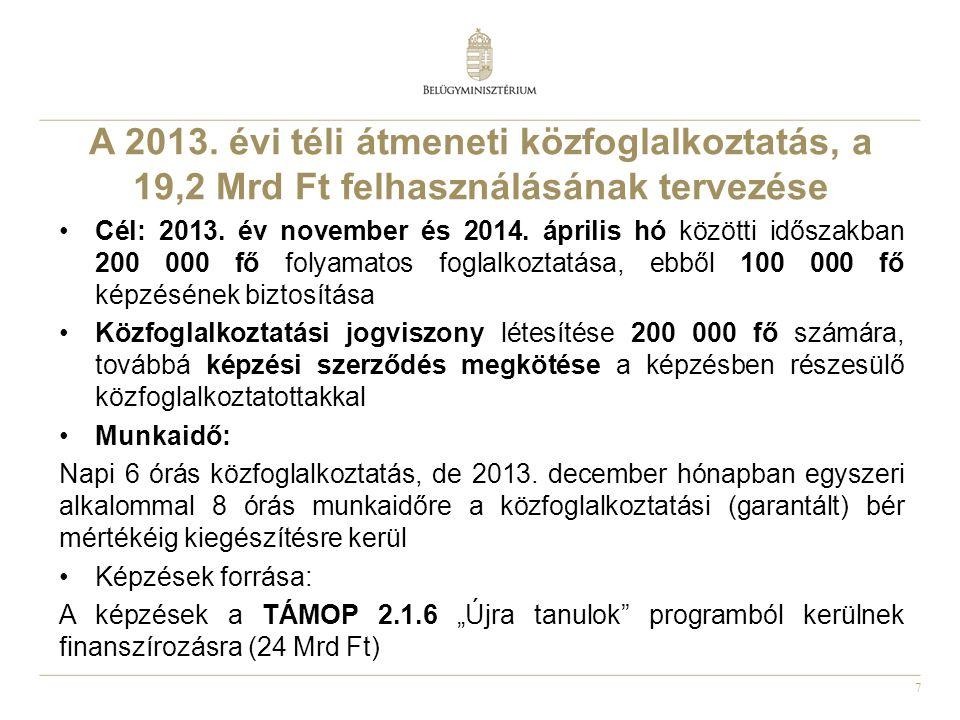A 2013. évi téli átmeneti közfoglalkoztatás, a 19,2 Mrd Ft felhasználásának tervezése