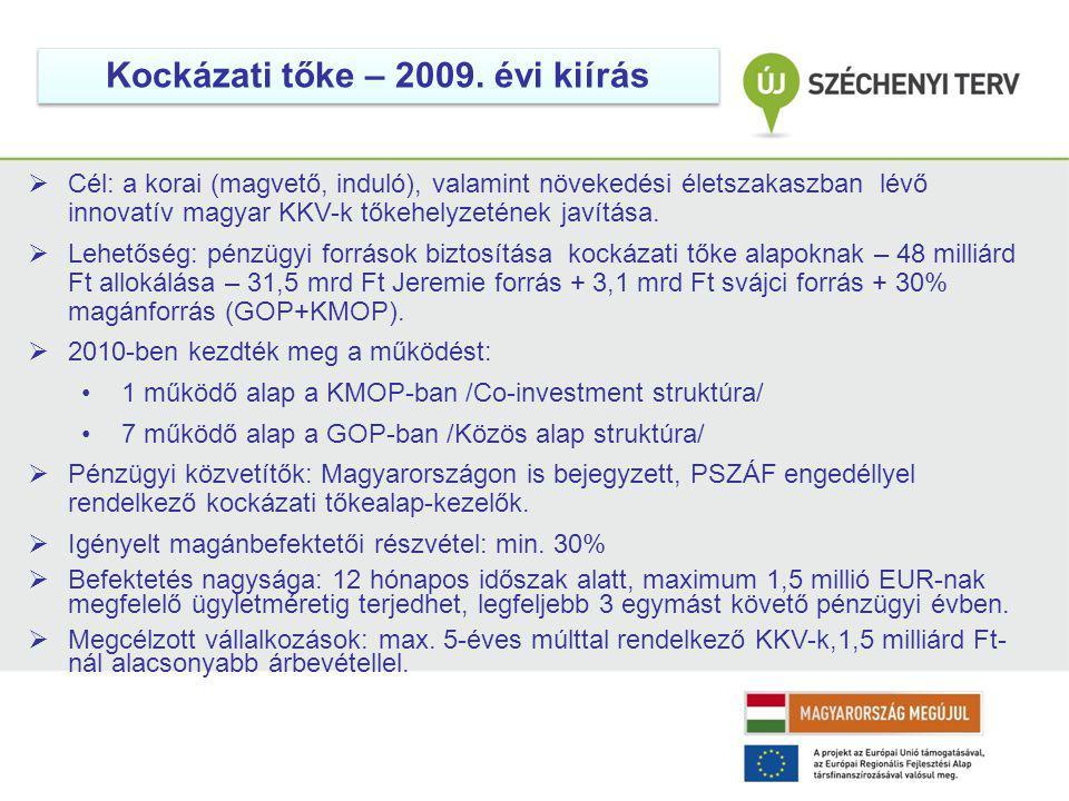 Kockázati tőke – 2009. évi kiírás