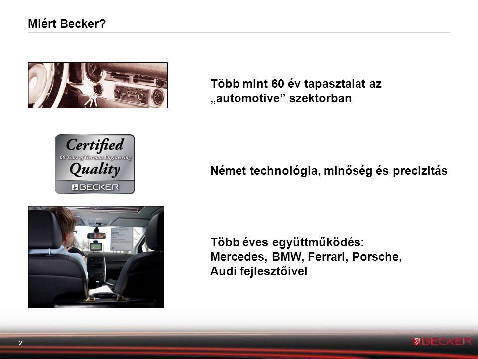 """Miért Becker Több mint 60 év tapasztalat az """"automotive szektorban. Német technológia, minőség és precizitás."""