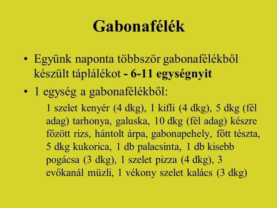 Gabonafélék Együnk naponta többször gabonafélékből készült táplálékot - 6-11 egységnyit. 1 egység a gabonafélékből: