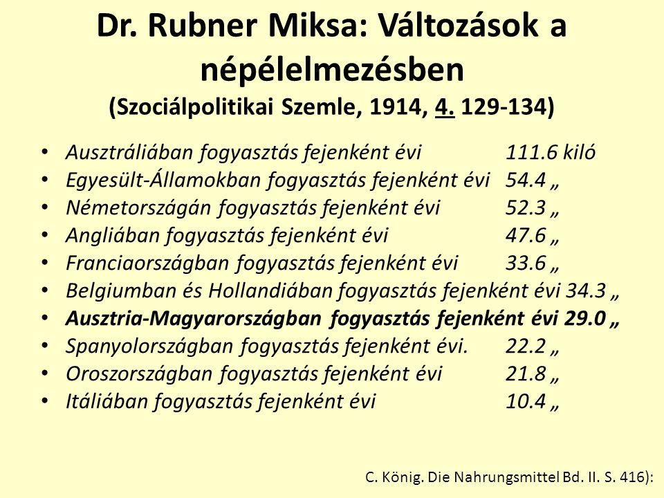 Dr. Rubner Miksa: Változások a népélelmezésben (Szociálpolitikai Szemle, 1914, 4. 129-134)