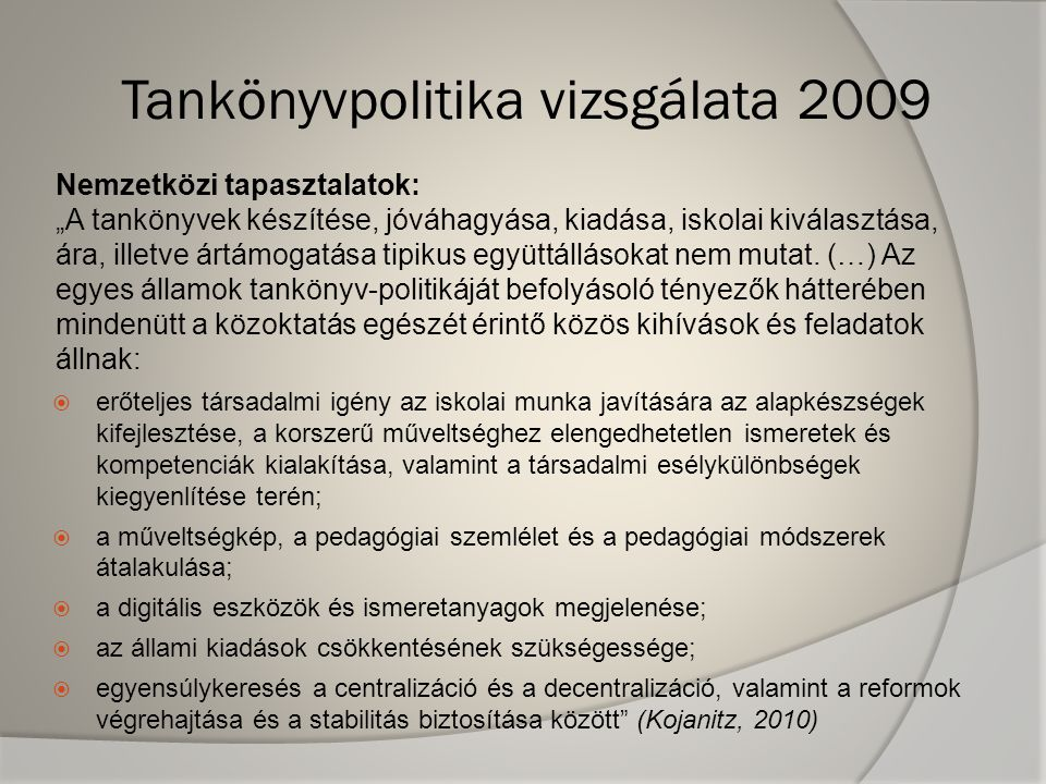 Tankönyvpolitika vizsgálata 2009