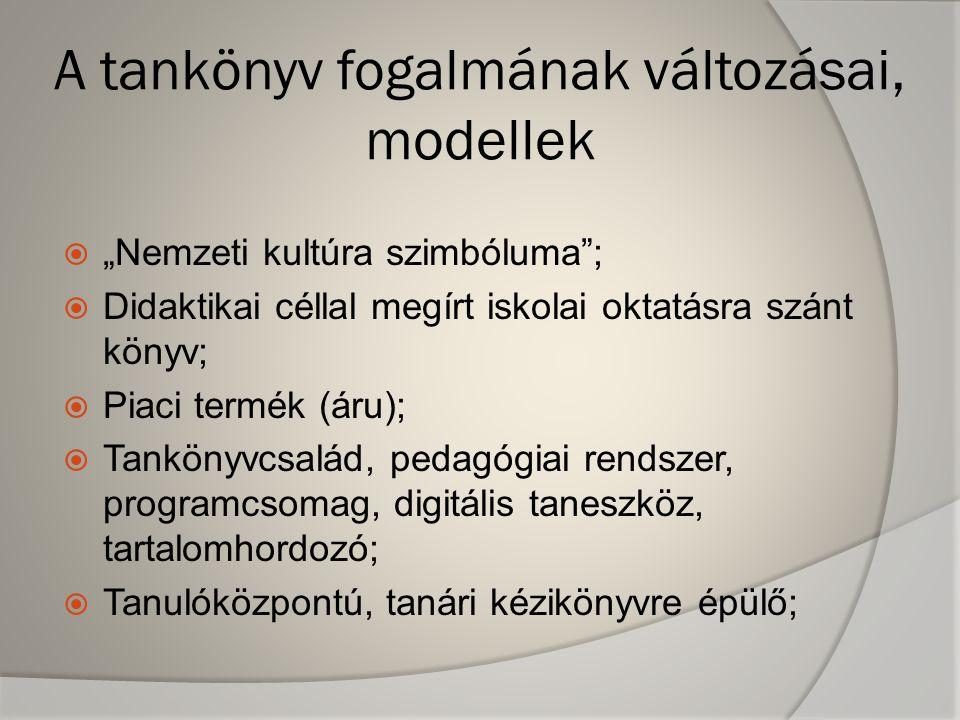 A tankönyv fogalmának változásai, modellek