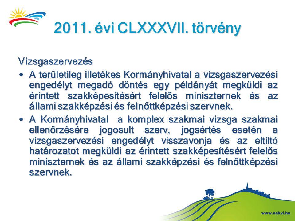 2011. évi CLXXXVII. törvény Vizsgaszervezés