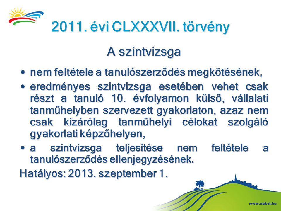 2011. évi CLXXXVII. törvény A szintvizsga