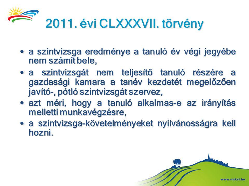 2011. évi CLXXXVII. törvény a szintvizsga eredménye a tanuló év végi jegyébe nem számít bele,