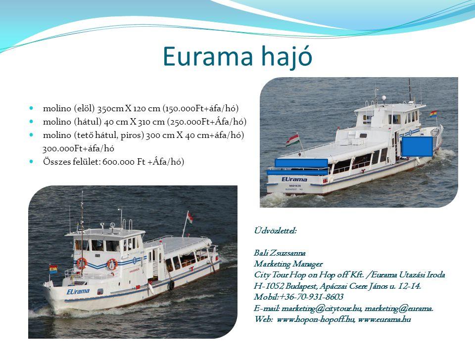 Eurama hajó molino (elöl) 350cm X 120 cm (150.000Ft+áfa/hó)
