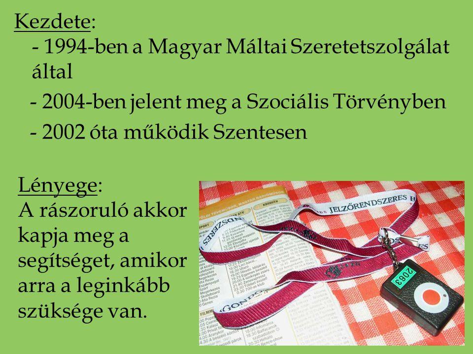 Kezdete: - 1994-ben a Magyar Máltai Szeretetszolgálat által - 2004-ben jelent meg a Szociális Törvényben - 2002 óta működik Szentesen