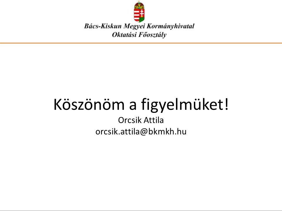 Köszönöm a figyelmüket! Orcsik Attila orcsik.attila@bkmkh.hu