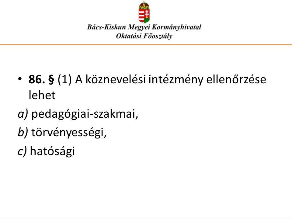86. § (1) A köznevelési intézmény ellenőrzése lehet