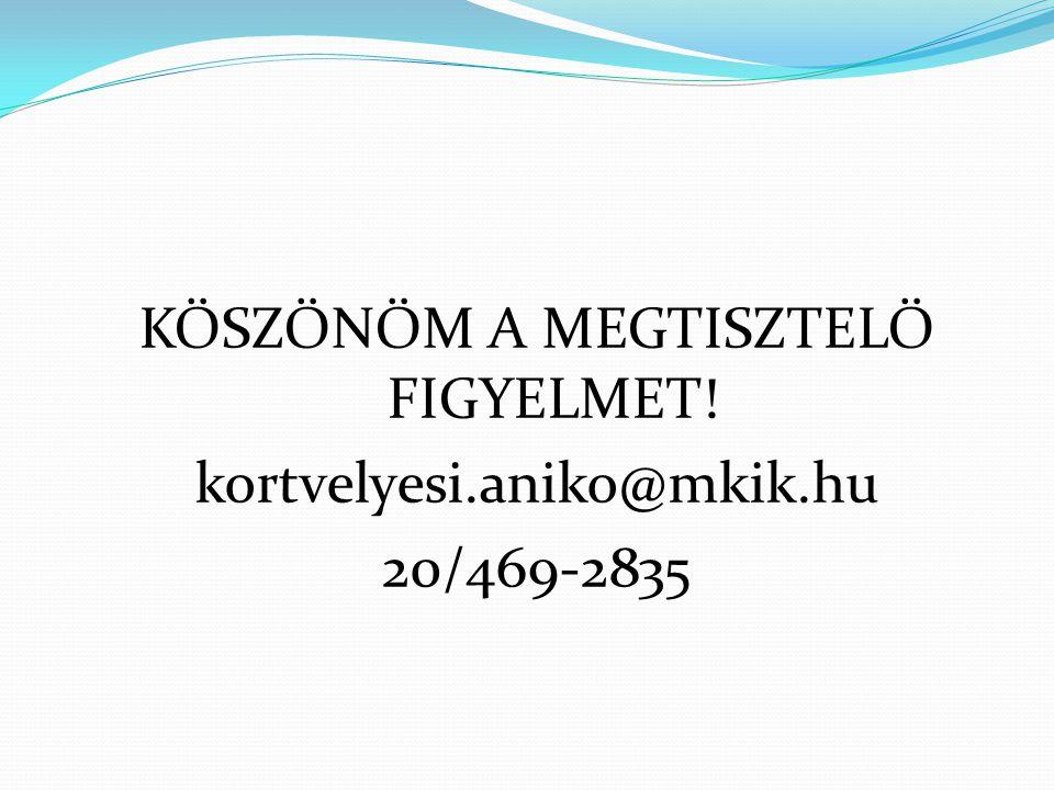 KÖSZÖNÖM A MEGTISZTELŐ FIGYELMET. kortvelyesi. aniko@mkik