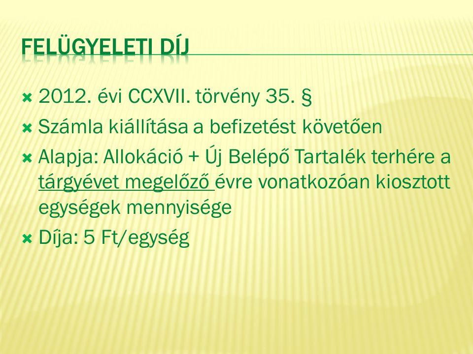 Felügyeleti díj 2012. évi CCXVII. törvény 35. §