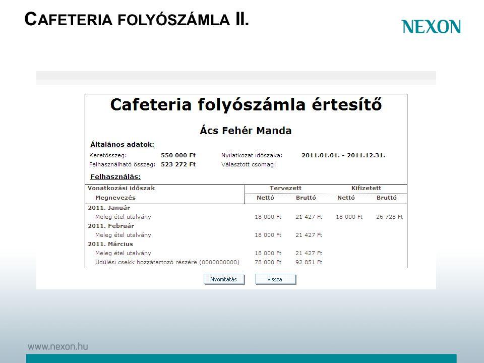 Cafeteria folyószámla II.