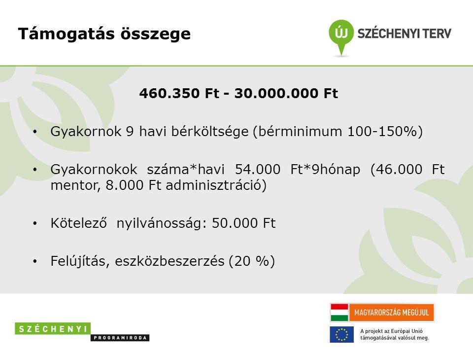 Támogatás összege 460.350 Ft - 30.000.000 Ft