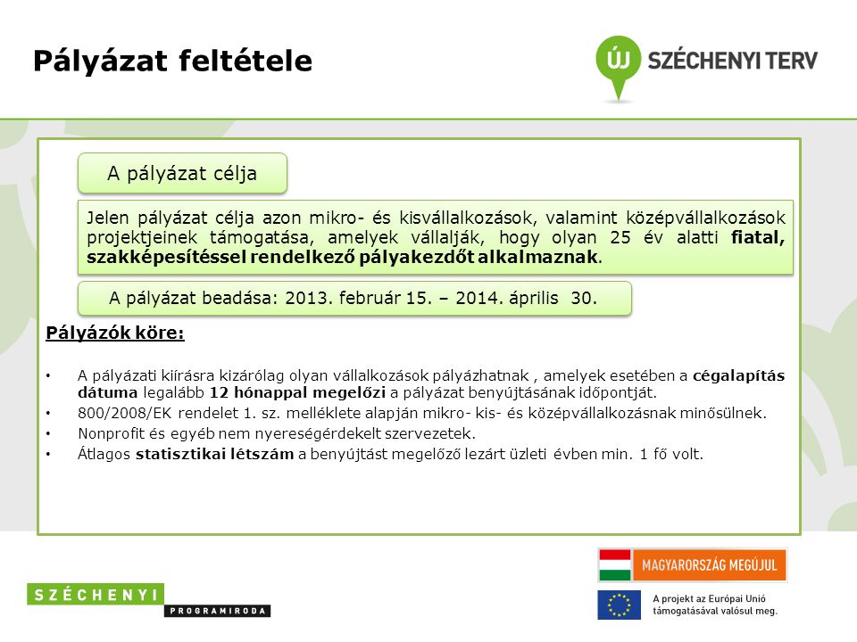 A pályázat beadása: 2013. február 15. – 2014. április 30.