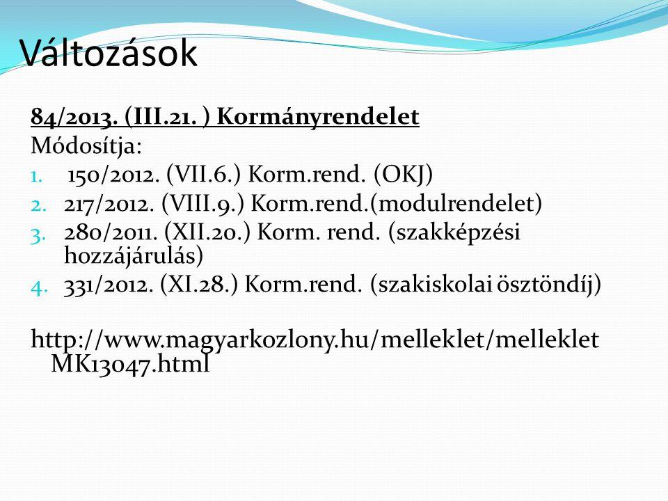 Változások http://www.magyarkozlony.hu/melleklet/mellekletMK13047.html