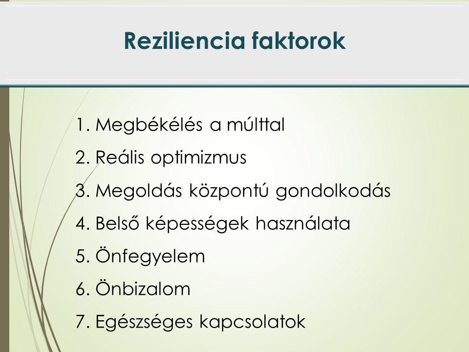 Reziliencia faktorok 1. Megbékélés a múlttal 2. Reális optimizmus