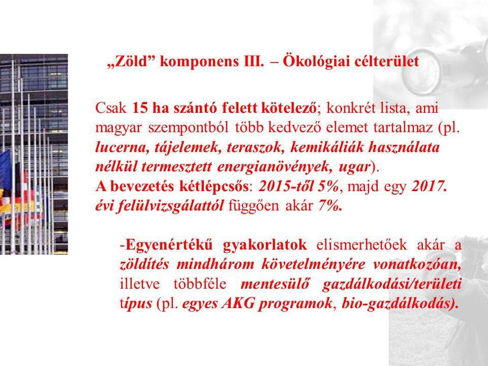 """""""Zöld komponens III. – Ökológiai célterület"""