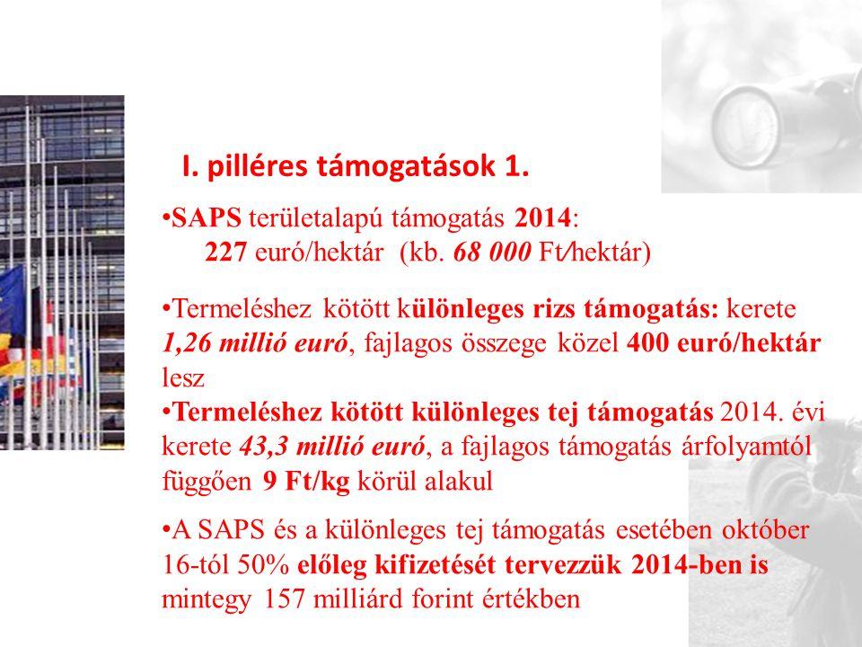 I. pilléres támogatások 1.