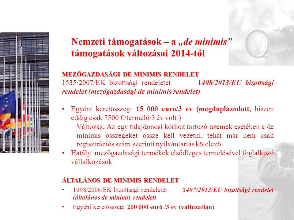 """Nemzeti támogatások – a """"de minimis támogatások változásai 2014-től"""