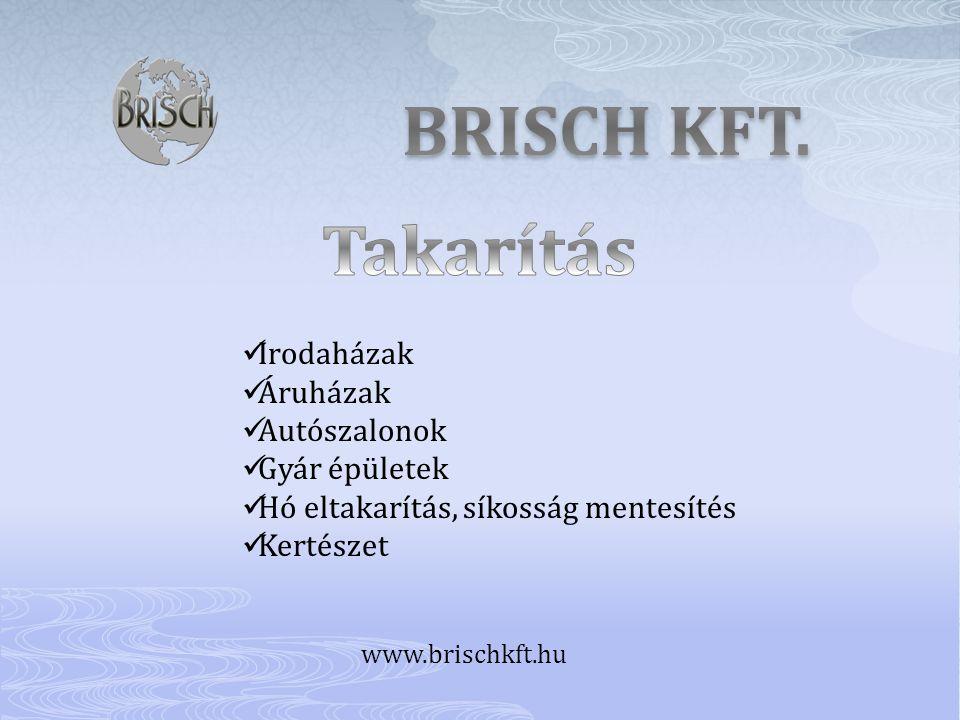 BRISCH KFT. Takarítás Irodaházak Áruházak Autószalonok Gyár épületek