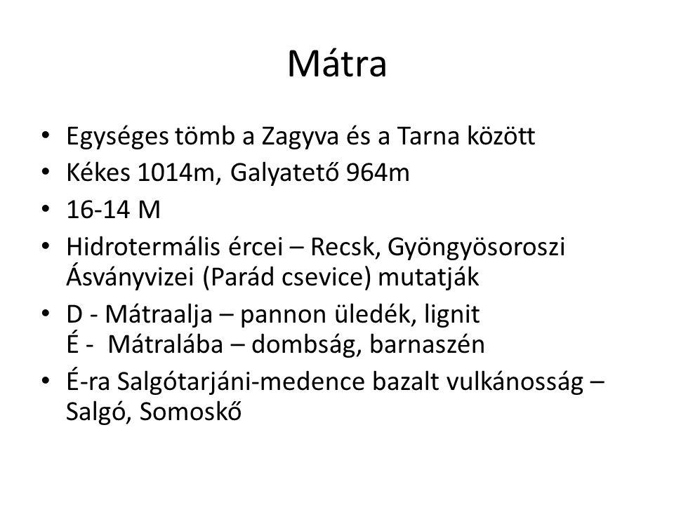 Mátra Egységes tömb a Zagyva és a Tarna között