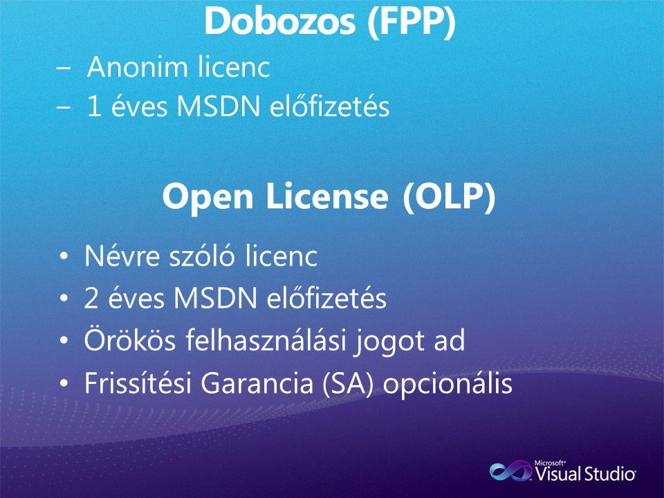 Dobozos (FPP) Open License (OLP) Anonim licenc 1 éves MSDN előfizetés