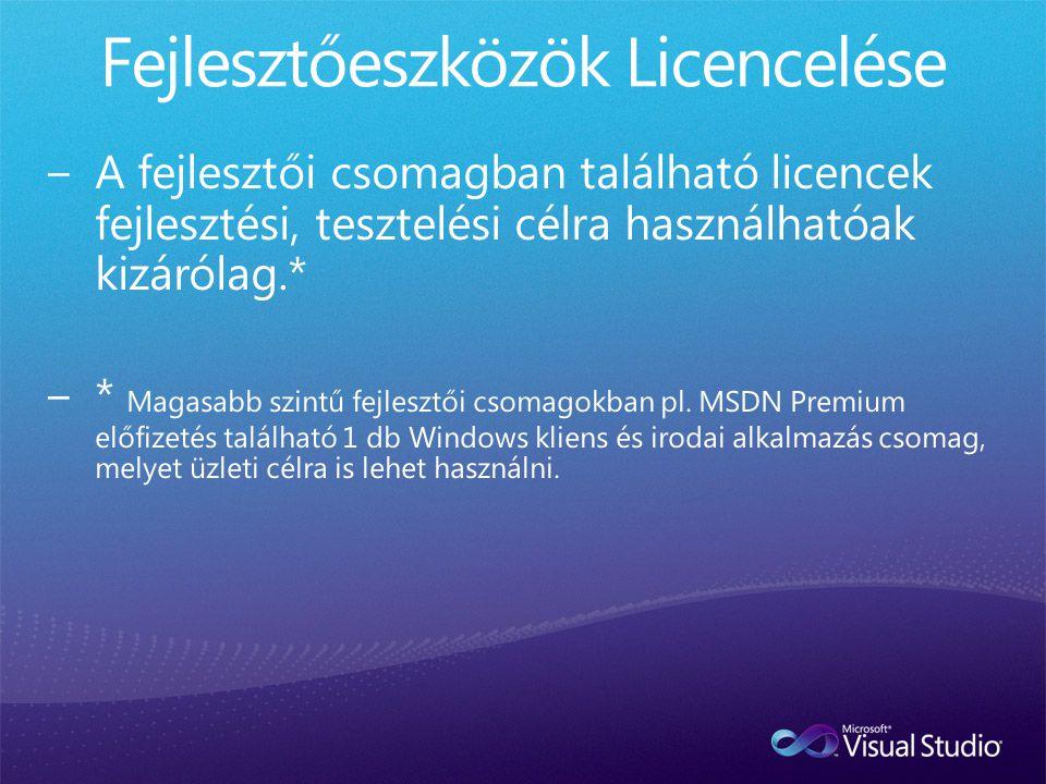 Fejlesztőeszközök Licencelése