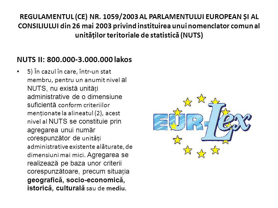 REGULAMENTUL (CE) NR. 1059/2003 AL PARLAMENTULUI EUROPEAN ȘI AL CONSILIULUI din 26 mai 2003 privind instituirea unui nomenclator comun al unităților teritoriale de statistică (NUTS)