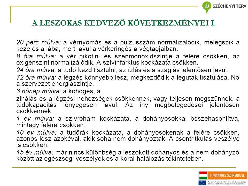 A LESZOKÁS KEDVEZŐ KÖVETKEZMÉNYEI I.