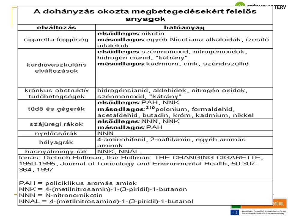 PAH policiklusos aromás szénhidrogének; NNK- NNN-nitrózus vegyületek