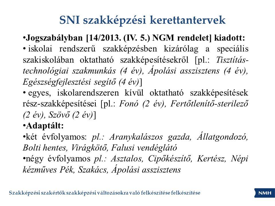 SNI szakképzési kerettantervek