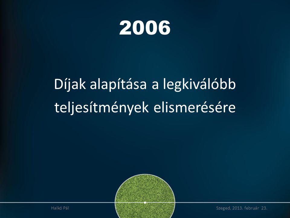 2006 Díjak alapítása a legkiválóbb teljesítmények elismerésére
