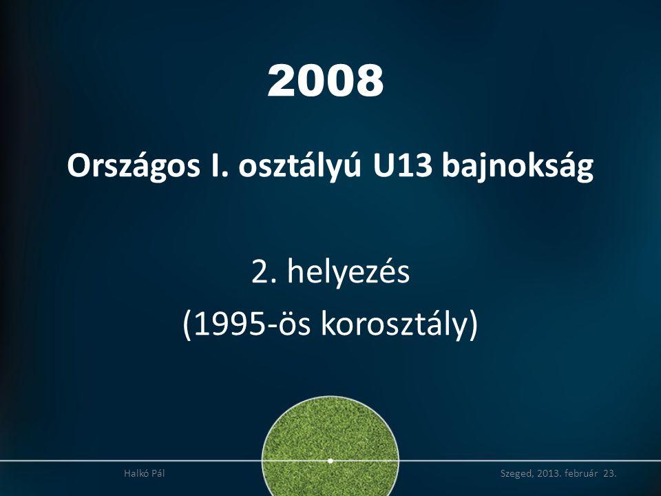 Országos I. osztályú U13 bajnokság 2. helyezés (1995-ös korosztály)