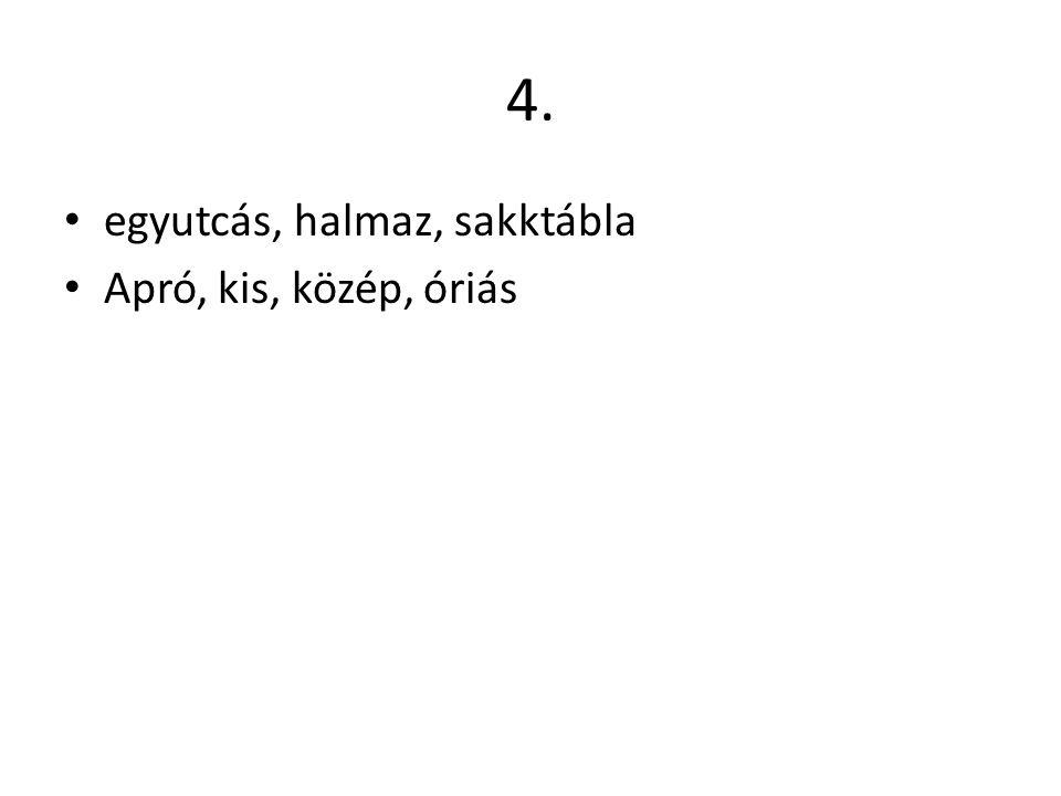 4. egyutcás, halmaz, sakktábla Apró, kis, közép, óriás