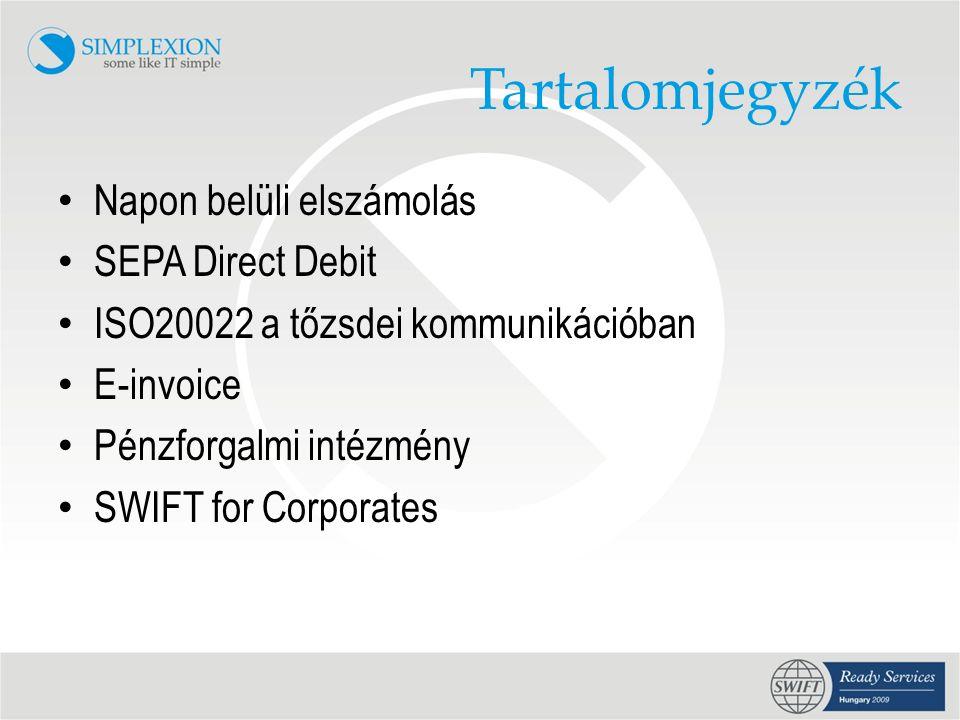Tartalomjegyzék Napon belüli elszámolás SEPA Direct Debit