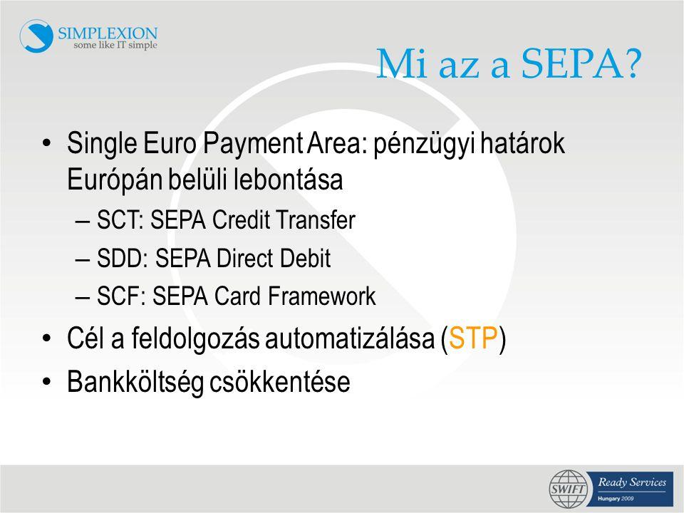 Mi az a SEPA Single Euro Payment Area: pénzügyi határok Európán belüli lebontása. SCT: SEPA Credit Transfer.