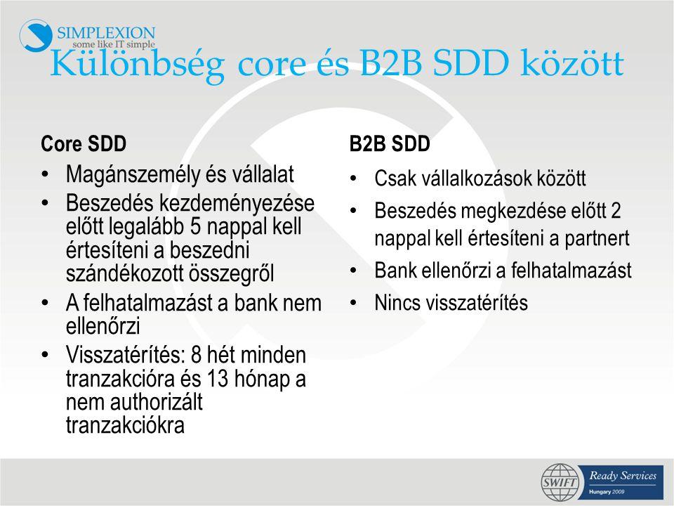 Különbség core és B2B SDD között