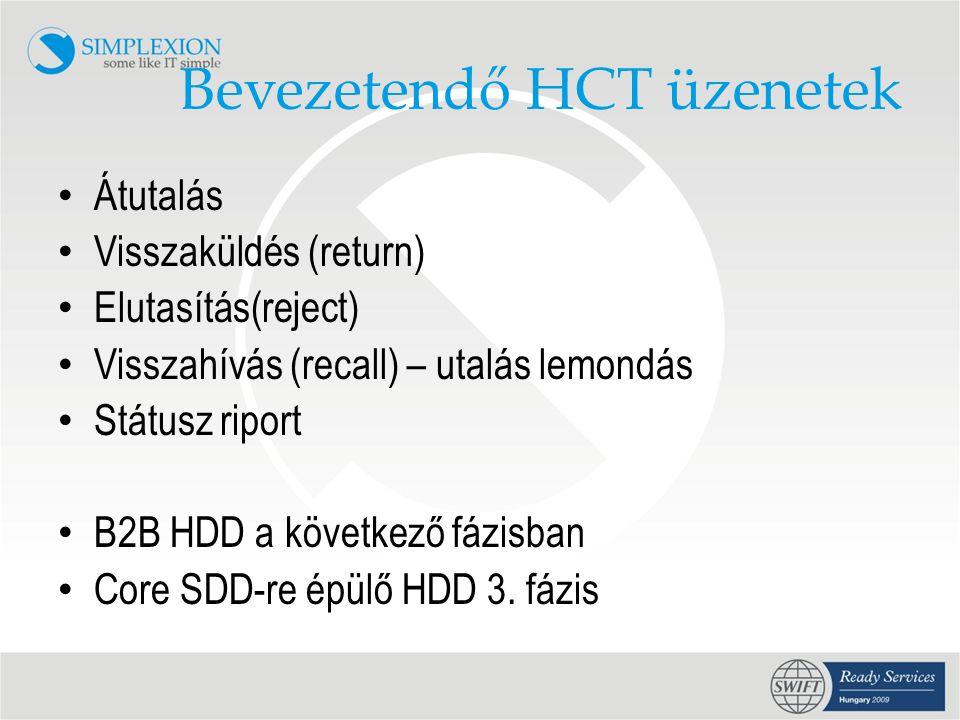 Bevezetendő HCT üzenetek