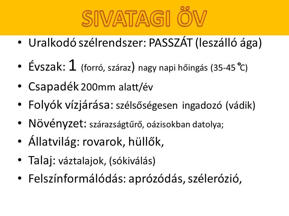 SIVATAGI ÖV Uralkodó szélrendszer: PASSZÁT (leszálló ága)