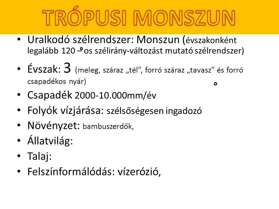TRÓPUSI MONSZUN Uralkodó szélrendszer: Monszun (évszakonként legalább 120 – os szélirány-változást mutató szélrendszer)