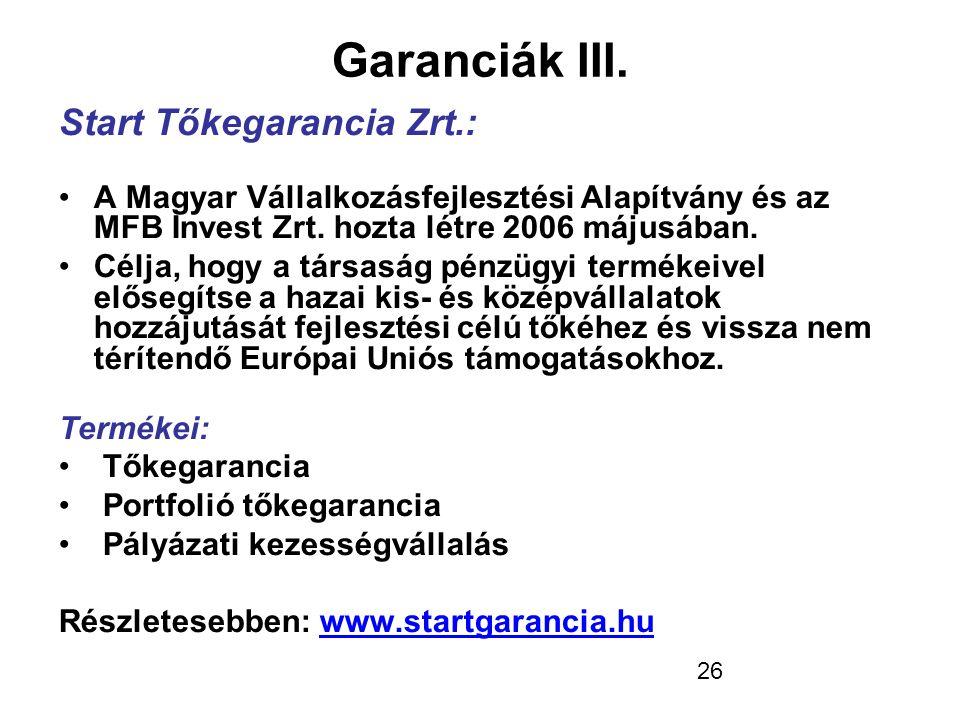 Garanciák III. Start Tőkegarancia Zrt.: