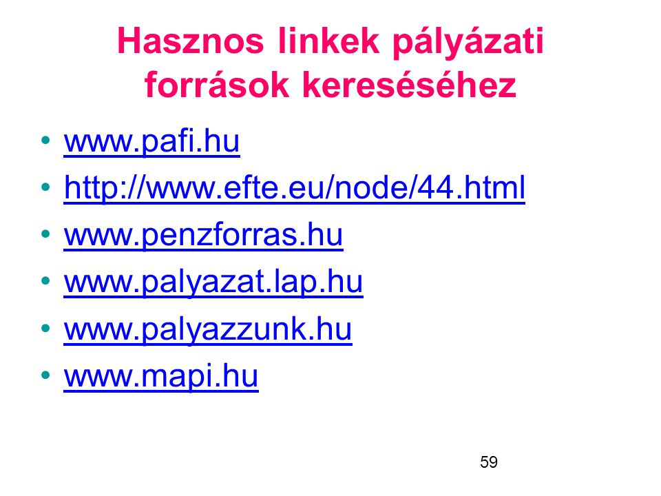 Hasznos linkek pályázati források kereséséhez