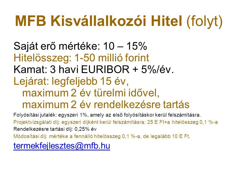 MFB Kisvállalkozói Hitel (folyt)