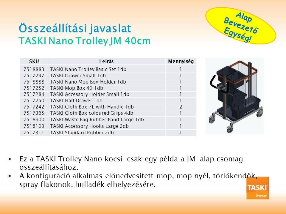 Összeállítási javaslat TASKI Nano Trolley JM 40cm