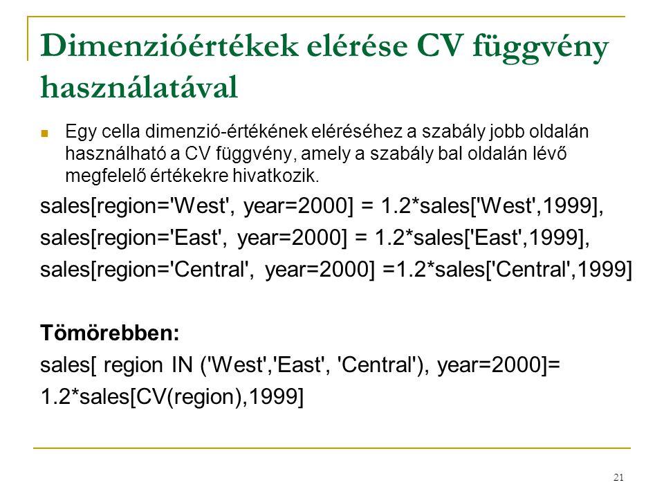Dimenzióértékek elérése CV függvény használatával